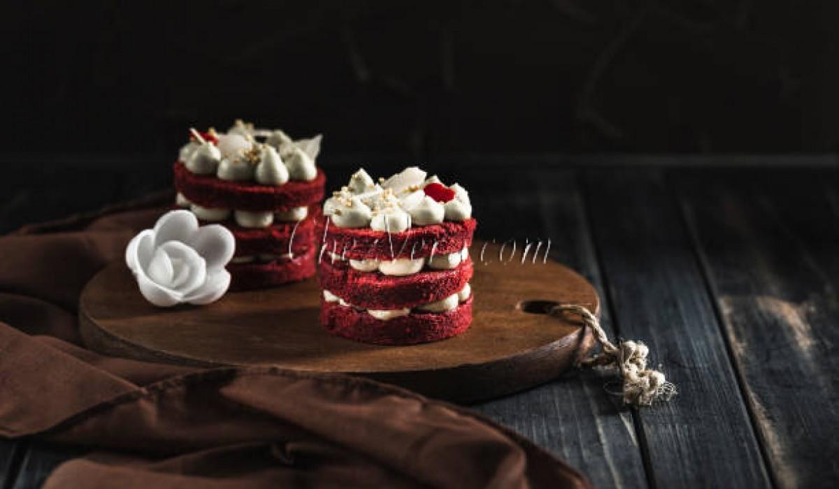 Red Velver-Mini-Kuchen-Rezept