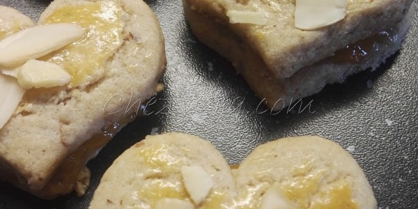 Almond Shortbread Cookies with Apricot Jam