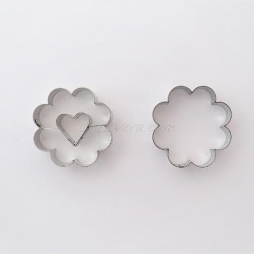 Emporte-pièces pour biscuits confiture - Fleur/ cœur
