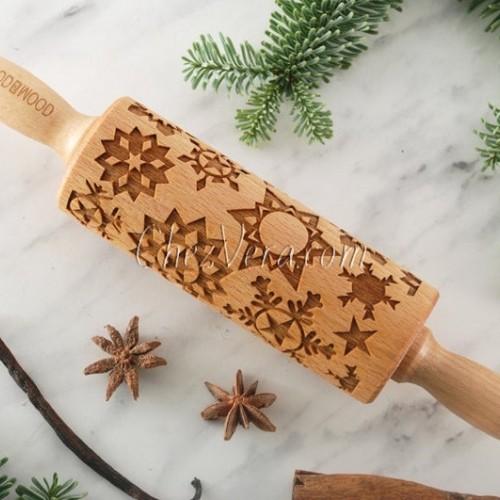 ENGRAVED MINI ROLLING PIN – Snowflake Pattern