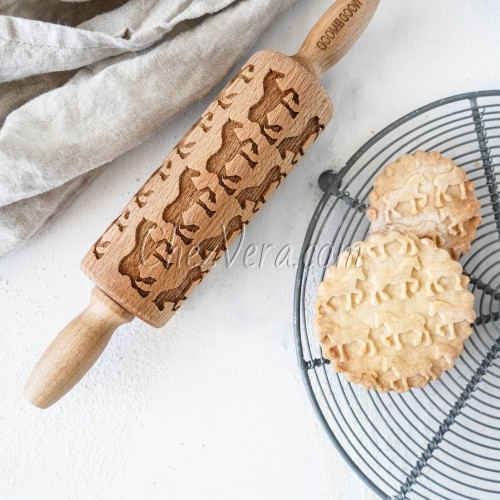 ENGRAVED MINI ROLLING PIN – Horse Pattern