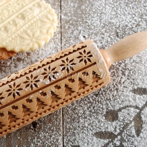 "ENGRAVED MINI ROLLING PIN – ""Norwegian Sweater"" Pattern"